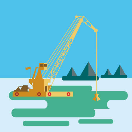 flat Huge crane barge Industrial ship that digs sand marine dredging digging sea bottom. Vector illustration Illustration
