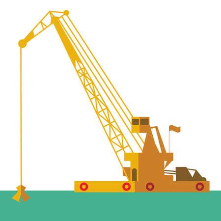 はしけ: 巨大なクレーンはしけ産業出荷を掘る砂海洋浚渫海の下を掘るします。ベクトル イラスト  イラスト・ベクター素材