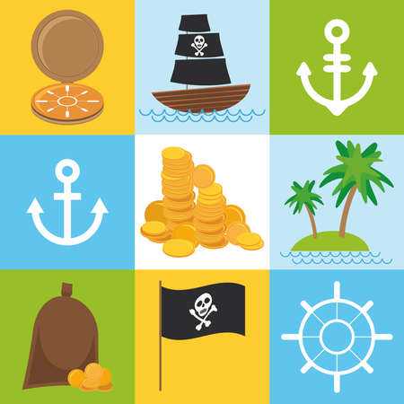 scrap nautical card with sea objects collection. seamless pattern. Vector illustration Vector