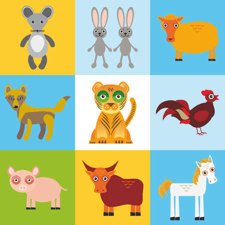 scrap card with animals, seamless pattern. Vector illustration Illustration