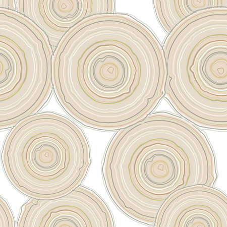 tree cross section: Cross section of tree trunk isolated on white background, seamless pattern.  Vector illustration Illustration
