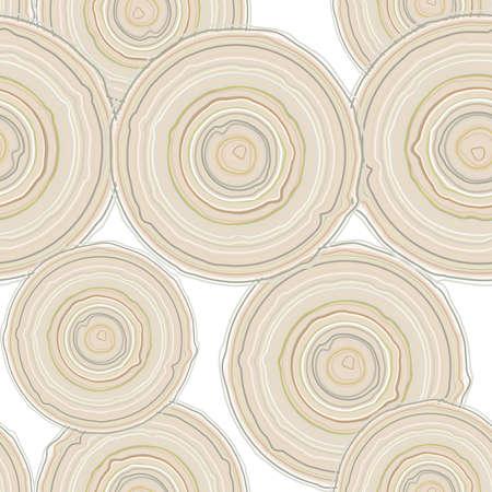 cross section of tree: Cross section of tree trunk isolated on white background, seamless pattern.  Vector illustration Illustration