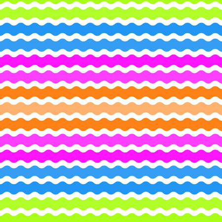 Wave green, pink, orange, blue background, seamless pattern. Vector illustration