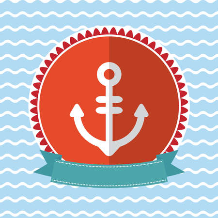 Sea anchor vintage card design Red and blue. Vector illustration Vector