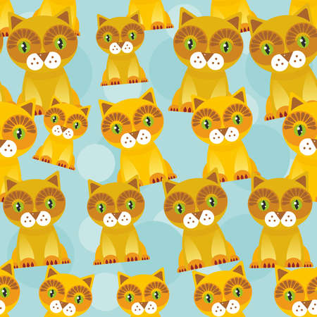 Seamless background with funny cats on blue background. Vector illustration Vector
