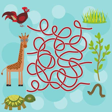 chicken, giraffe, turtle, labyrinth game for Preschool Children. Vector illustration Vector
