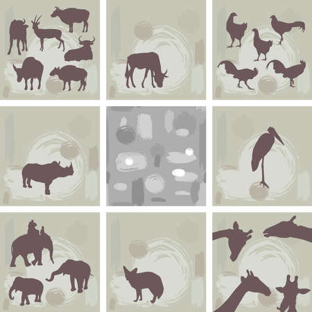 large set ofAfrican animals and abstract seamless pattern. Silhouette. Vector illustration Vector