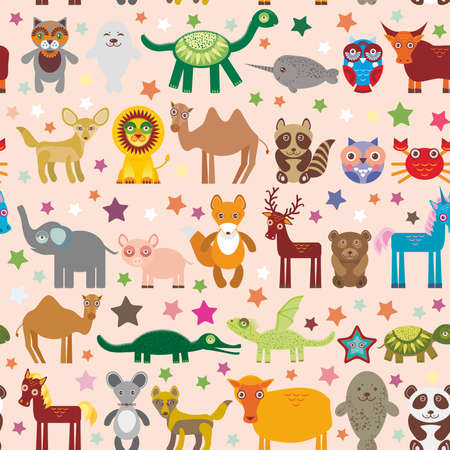Set of funny cartoon animals character on pink seamless background. zoo. Vector illustration Vector