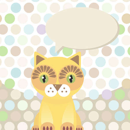 Polka dot background, pattern. Funny cute red cat on dot background. Vector illustration Vector