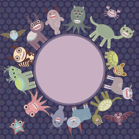 dinosaur cute: Card for your text in circle. Funny cute dinosaur monsters on dark dot background. Vector illustration Illustration