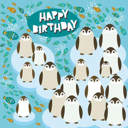 floe: Happy birthday card funny penguins on an ice floe. Vector illustration