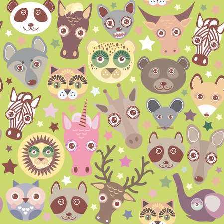 funny animals muzzle seamless pattern, Green background with stars. Vector illustration Vector