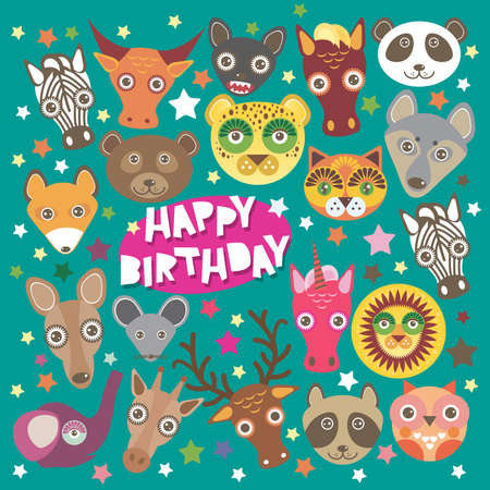 Happy birthday card funny animals muzzle, Teal background with stars. Vector illustration Vector