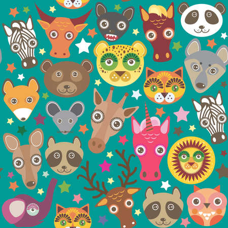 Set of funny animals muzzle seamless pattern. Teal background with stars. Vector illustration Vector