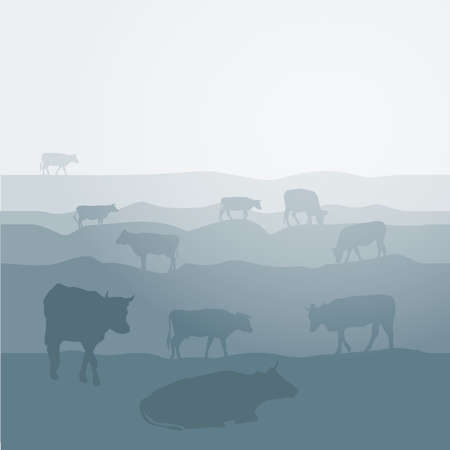 grazing: Cows graze in the field landscape sky, grass, pasture. Blue, gray silhouette background. Vector illustration Illustration