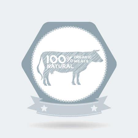 farm shop: premium beef label, badge Farm shop, cow milk Diagram and Design Elements in Vintage Style. Vector illustration Illustration