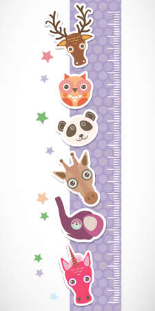 Children height meter wall sticker. Set of funny animals muzzle lilac stiker with stars. Vector illustration Vector