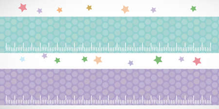 stiker: Children height meter wall Sticker set lilac blue. Set stiker with stars. Vector illustration