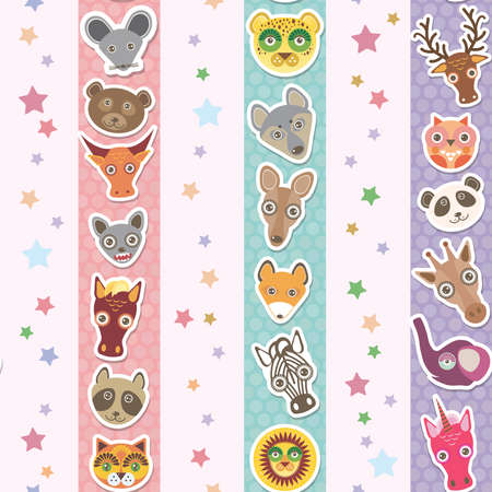 Set of funny animals muzzle seamless pattern with stars, pink lilac blue stripes. Vector illustration Vector