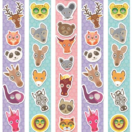 funny animal: Conjunto de animales divertidos bozal patr�n transparente con rayas azules lilas rosadas. Ilustraci�n vectorial