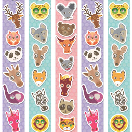 Set of funny animals muzzle seamless pattern with pink lilac blue stripes. Vector illustration Vector