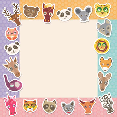 Set of funny animals muzzle square frame template card. background with Polka dot. Vector illustration Vector