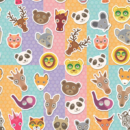 Set of funny animals muzzle seamless pattern. background with Polka dot. Vector illustration Vector