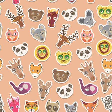 Set of funny animals muzzle seamless pattern. pink peach background. Vector illustration Vector