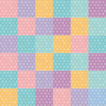 Polka dot background seamless pattern with orange pink lilac blue square. Vector illustration Vector