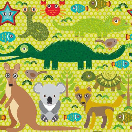 動物のオーストラリアのヘビ、カメ、ワニ、alliagtor、カンガルー、ディンゴ。緑の背景のシームレスなパターン。ベクトル図