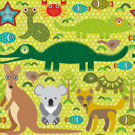 Animals Australia snake, turtle, crocodile, alliagtor, kangaroo, dingo. Seamless pattern on  green background. Vector illustration