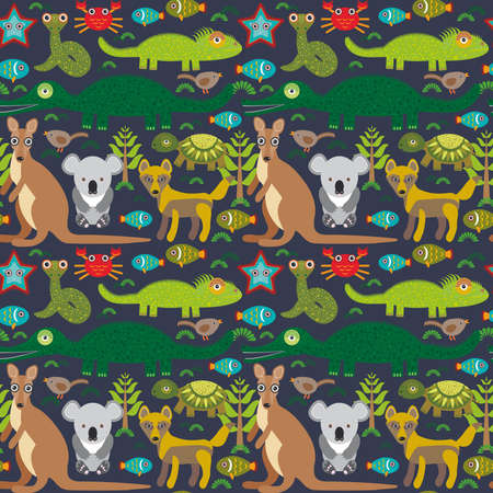 tortuga de caricatura: Animales Australia serpiente, tortuga, cocodrilo, alliagtor, canguro, dingo. Patr�n sin fisuras en el fondo oscuro. Ilustraci�n vectorial