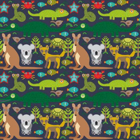 schildkr�te: Animals Australia Schlange, Schildkr�te, Krokodil, alliagtor, K�nguru, dingo. Nahtlose Muster auf dunklem Hintergrund. Vektor-Illustration