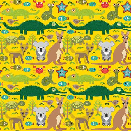 dingo: Animals Australia snake, turtle, crocodile, alliagtor, kangaroo, dingo. Seamless pattern on  green background. Vector illustration