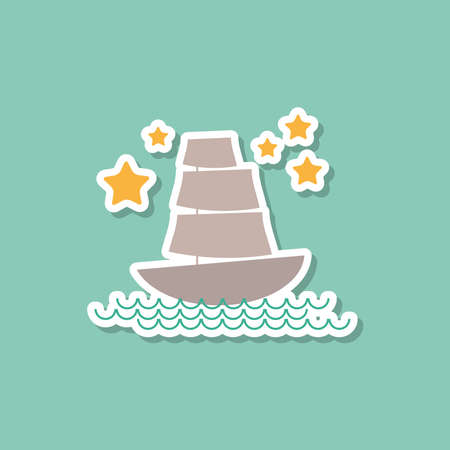 marine ship: Marine ship sailboat, stars on blue background. Modern style flat. Vector illustration