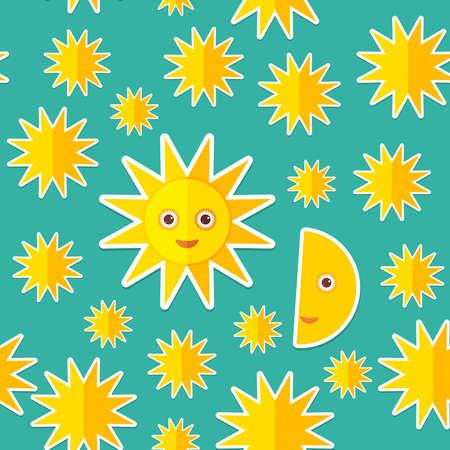 sonne mond: Sun-Mond-Sterne auf blauem Nachthimmel nahtlose Muster. Modernen Stil Wohnung. Vektor-Illustration