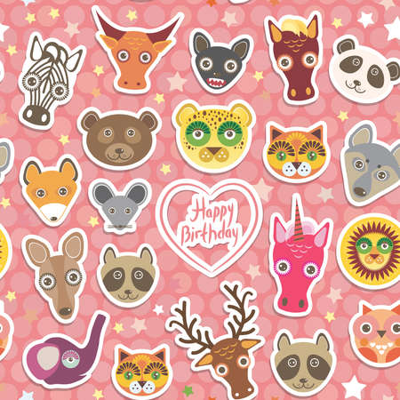 happy birthday vector: Seamless pattern Funny Animals White heart on pink Polka dot background. Happy birthday. Vector illustration Illustration