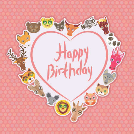 Funny Animals Happy birthday. White heart on pink Polka dot background. Vector illustration Vector