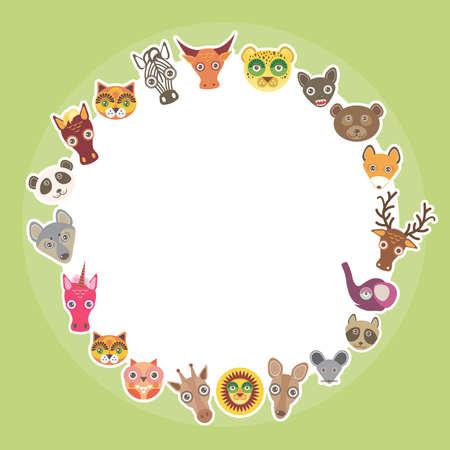 funny animal: Funny Animals plantilla tarjeta. C�rculo blanco sobre fondo verde claro. Ilustraci�n vectorial