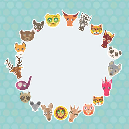 Funny Animals card template. White circle on light blue Polka dot background. Vector illustration Vector
