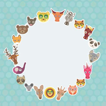 funny animal: Funny Animals plantilla tarjeta. C�rculo blanco en azul claro fondo del punto de polca. Ilustraci�n vectorial