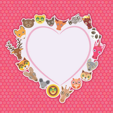 Funny Animals card template. White heart on pink Polka dot background. Vector illustration Vector