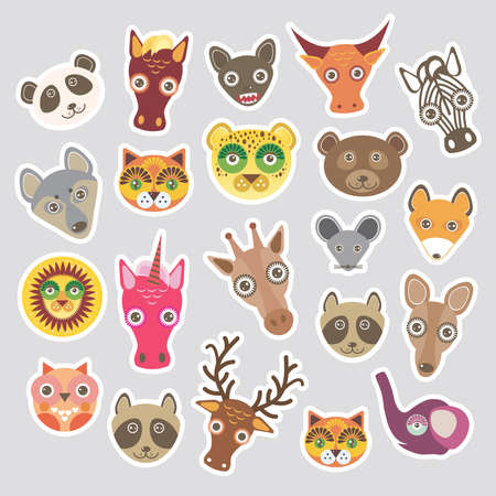 Sticker set of funny animals muzzle. Vector illustration Vector