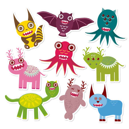 Sticker set Funny monsters collection on white background. Vector illustration Vector
