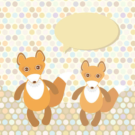 Polka dot background, pattern. Funny cute fox on dot background. Vector illustration Vector