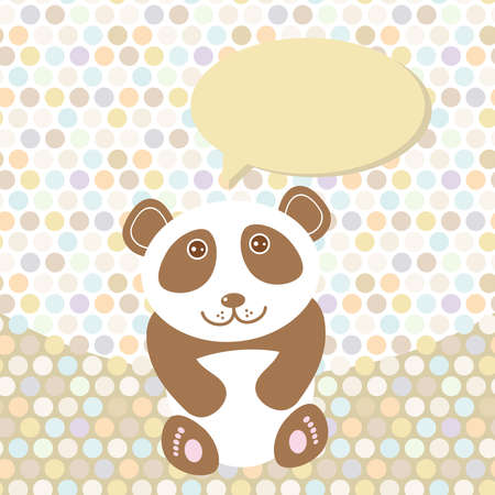 Polka dot background, pattern. Funny cute panda on dot background. Vector illustration Vector