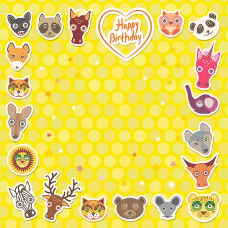 funny animal: Animales divertidos feliz cumplea�os. Lunares amarillos fondo. Ilustraci�n vectorial