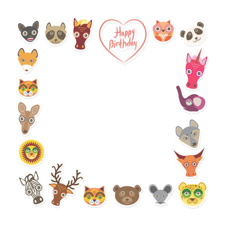 Funny Animals Happy birthday. pink heart on White background. Vector illustration Vector
