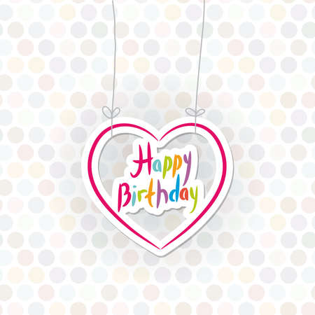 catchy: Happy birthday. pink heart on Polka dot background. Vector illustration