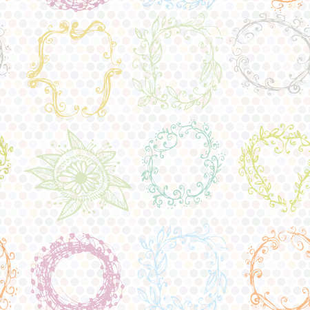 floral wreath seamless pattern. Sketch frames, hand-drawn. Vector